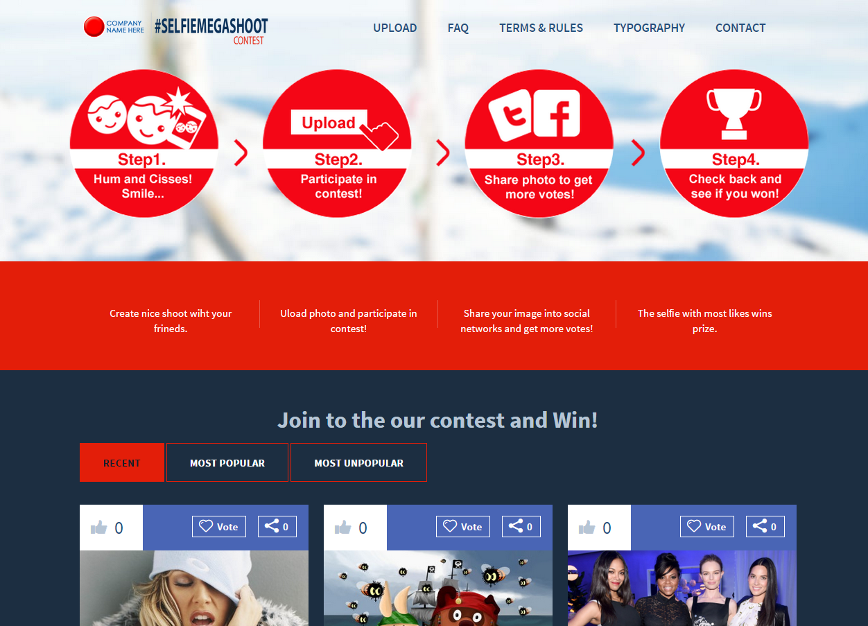 Selfie WordPress Template With Integrated Photo Contest - Photo contest website template